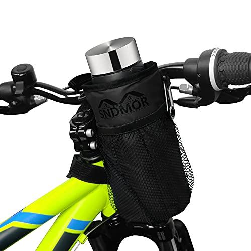 SNDMOR Portaborraccia per bicicletta-Portabicchiere per bicicletta con 2 tasche in rete Adatto per mountain bike, biciclette per bambini, biciclette elettriche(Nero)