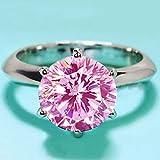 Jyuesi Anillo de Compromiso Seguro Diamantes de Plata Corte Moderno Topacio Zafiro Regalo Zafiro Talla de Moda Anillo Manual 925(None 7 13 Pink 7)