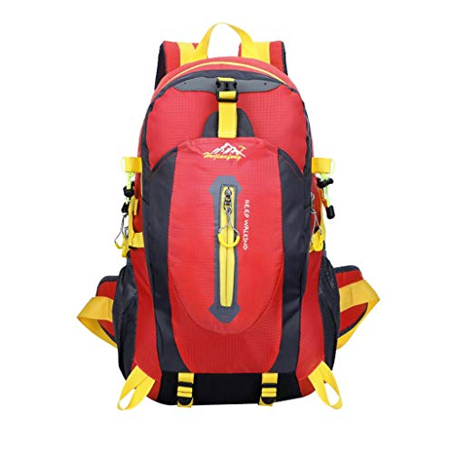 WLP-WF Sports Backpack Backpack Hiking Bag Outdoor Camping Water Resistant Sport 40L - Red, 30 * 52 * 20Cm,Red