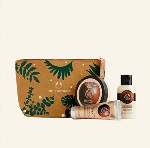 The Body Shop - 4 PC Mini Shea Set Hand Cream, Coconut shower Cream, Shea Body Butter Zip Bag TRAVEL GYM …
