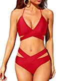 Holipick Bikini Swimsuit for Women Two Piece High Waisted Swimsuits Criss Cross Halter Knotted Bathing Suits, Red, S
