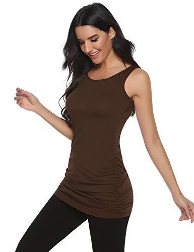 Abollria Camiseta Larga sin Mangas para Mujer Verano Casual Camiseta de Tirantes con Arrugado Basic Long Tank Top de Algodón con Cuello Redondo
