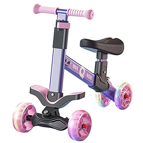 PTHZ Scooter de Equilibrio para niños, Scooter con 4 Ruedas silenciosas parpadeantes, Scooter de no Pedal de luz, Adecuado para niños de 3 a 8 años de niño y niña, Juguete, Púrpura