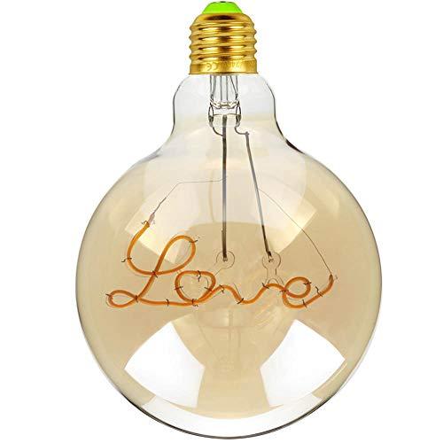 Tianfan - Bombillas LED vintage con filamentos LED (4 W, 220 y 240 V, E27, 2000 K, luz decorativa de gran calidez y brillo (Love)