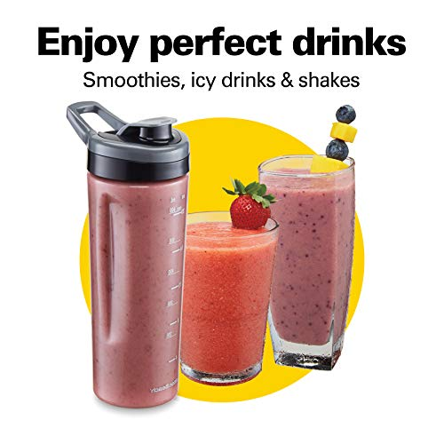 Hamilton Beach Wave Crusher Blender with 6 Functions, 800W, 40oz Glass + 20oz Personal Jars for Shakes and Smoothies, Quiet Blending, Gray (58181)