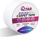 Carpet Tape Double Sided Heavy Duty for Wood Floors, Rug Tape for Area Rugs Over Carpet on Hardwood, Anti Skid Stick Tape for Mat, Vinyl, Pad, Tiles, Runners, Stair Treads 3 Inch X 10 Yards