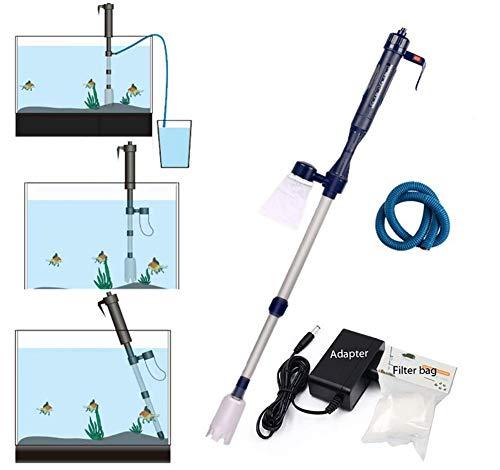 TOUID Aquariumreiniger, elektrische viscontainer, stofzuiger, sifon aquariumfilter, werkt op batterijen, aquariumzuiger, voor aquaria algen/kiezen/vuil reiniging waterverwisselen pomp