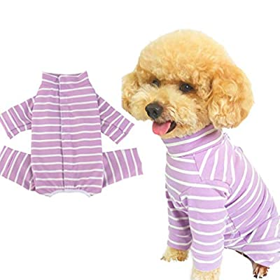 Due Felice Dog Professional Surgical Recovery Suit for Abdominal Wounds Skin Diseases, After Surgery Wear, E-Collar Alternative for Puppy, Home Indoor Pets Clothing Black Plaid/S