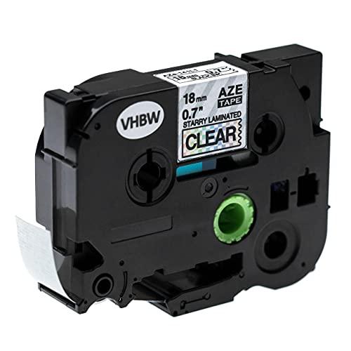 vhbw Casete cinta de escritura reemplaza Brother TZE-141L1 para impresora etiquetas 18 mm Negro a Transparente (brillo)