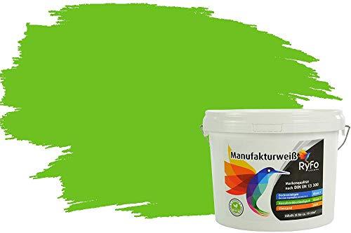 RyFo Colors Bunte Wandfarbe Manufakturweiß Limettengrün 3l - weitere Grün Farbtöne und Größen erhältlich, Deckkraft Klasse 1, Nassabrieb Klasse 1