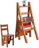 Inicio Taburetes con peldaños 4 escalones Taburete con peldaños de madera maciza de roble Escalera Escalera de tijera plegable Estante de flores de madera para interiores para adultos Estantes para