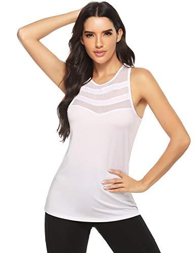 Doaraha Camiseta de Tirantes Deportiva para Mujer Malla Sin Mangas Chaleco para Running,Yoga,Fitness