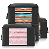 Large Capacity Storage Bags, Storage Organizers with Reinforced Handle, Stainless Steel Zipper, 3 Layer Fabric for Comforters, Bedding, Blankets Clothing Black