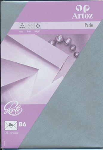 Artoz Papier AG - Kuvert B6 Perle 5er-Pack silber