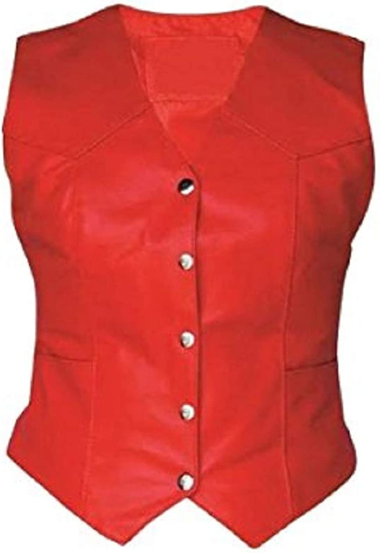 Clydestones Womens Real Black RED Sheep Lamb Leather Biker Vest Ladies Motorcycle Waistcoat Vest