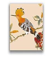 中華風ポスター画像カッコウオウム鳥花春の風景モダンウォールアート写真リビングルーム書斎装飾ポスター40×60フレームなし