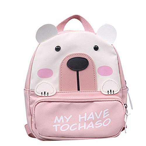 Fashionable Small Round Bag Cute Cartoon Children s Schoolbag Mini Backpack Women Girls Boys Canvas Backpack -Pink
