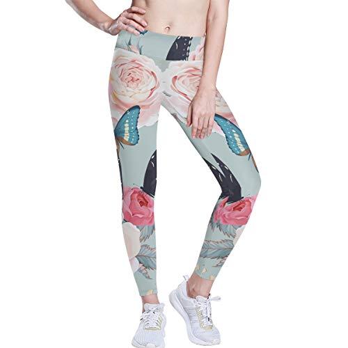 Linomo Pantalones de yoga de cintura alta para mujer, diseño de mariposas, estilo vintage, para correr, para mujer Multicolor multicolor X-Small