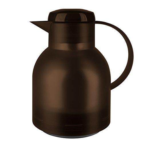 Emsa 509820 Samba Isolierkanne (1 Liter, Quick Press Verschluss, 12h heiß, 24h kalt) dunkelbraun