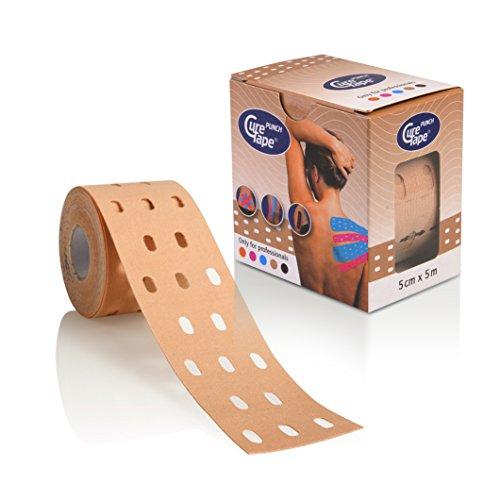 CureTape Punch, Kinesiologie Tape, Sporttape, 5 m x 5 cm, wasserfest, neutral