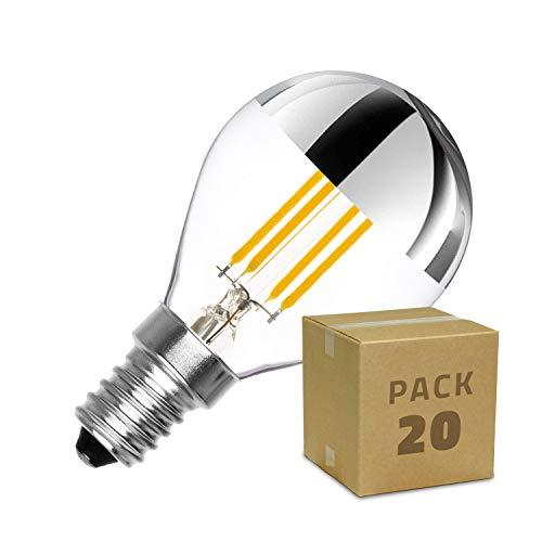 LEDKIA LIGHTING Caja de 20 Bombillas LED E14 Casquillo Fino Regulable Filamento Reflect G45 3.5W