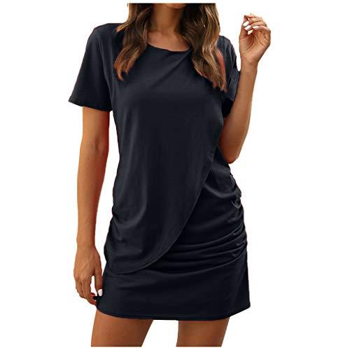 AIni Damen Sommer Kleid LäSsiges Kurzarmkleid Patchwork Casual Plissee Minirock Damen Casual Shirt Lose Tunika Kurzarm T-Shirt Kleid Minikleid Partykleider