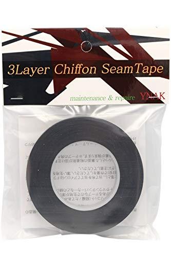 YNAK シームテープ レインウェア 補修 3レイヤー適合 テント不適正 シフォンタイプ 表面柔軟布 縫い目 リペア シームレス 防水 対策 メンテナンス 用 アイロン式 (幅15mm×17m Black)