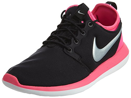 Nike Kids' Roshe Two (GS) Black, Platinum, and Pink Textile Running Shoes 7