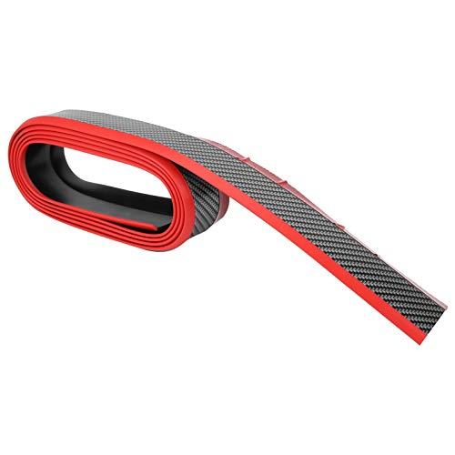 Protectores de entrada de puerta de maletero de 2,5 metros / 8,2 pies anticolisión para parachoques delantero, kit de carrocería, faldón lateral para(Carbon grain red edge)