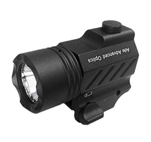 Ade Advanced Optics PL200S-A-1 Ultra Compact Tactical Strobe Flashlight 400 Lm Pistol Handgun Torch Light with Strobe Mode for Hiking, Camping, Hunting & Other Indoor/Outdoor Activities