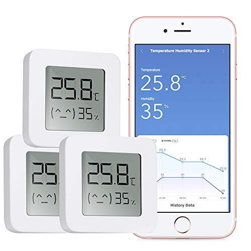 WARMTUYO Digital Termómetro Higrómetro Interior, Bluetooth Termómetro Higrómetro Monitor, Medidor Temperatura Humedad Inalámbrico con LCD Pantalla, Control de App Homekit con Exportación Datos