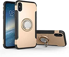 for iPhone 6 Plus/6S Plus TPU+PC Slim Dual Layer Hybrid Defender Armor Shockproof 360° Degree Rotating Metal Finger Ring Grip Holder Kickstand Protective Case [Support Magnetic Car Mount] (Gold)