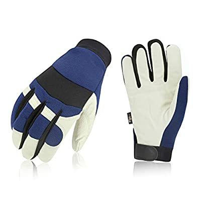 Vgo 3Pairs 32? or above 3M Thinsulate C40 Lined Pigskin Leather Warm Winter Cold Storage Frozen Safety Working Gloves(Blue,PA7620F)
