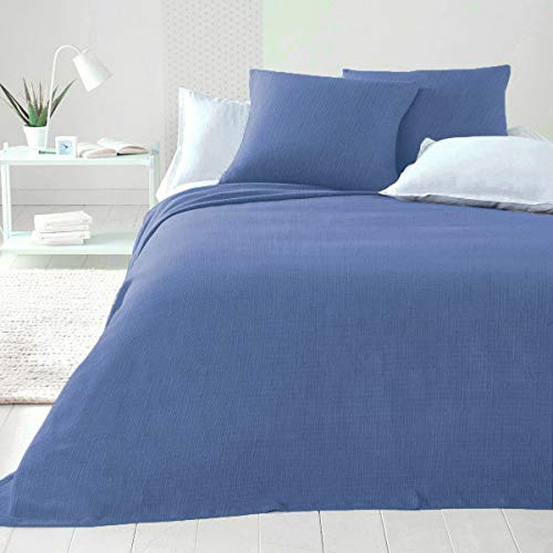 Byour3 Tagesdecke aus Baumwolle für Doppelbett, bügelfrei, für französisches Bett, Frühling, Sommer, Mehrzweck-Überwurf, Überwurf für Sofa, Überwurf (Hellblau, Doppelbett)