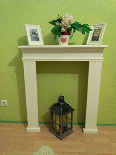 Wolkenstube Marco de chimenea blanco elegante, chimenea decorativa, consola de chimenea, hecha a mano