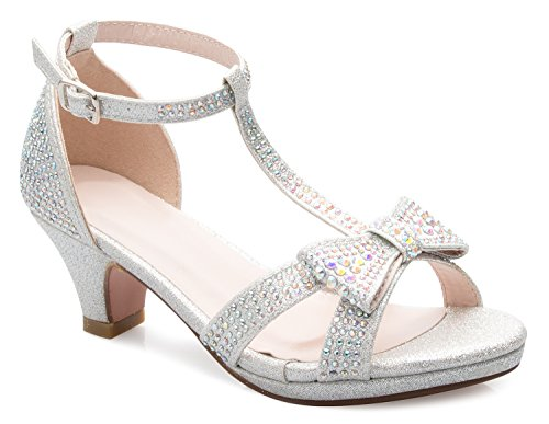 Olivia K Girl's Glitter Leatherette Open Toe Strappy Ankle T Strap Kitten Heel Sandal (Toddler/Little Girl), Silver Y1