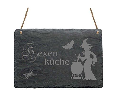 Schiefertafel « HEXENKÜCHE » Schild mit Motiv Hexe am Kessel - Größe ca. 22 x 16 cm - Dekoschild Dekoration - Kochen Küche Hexen Hexenkessel