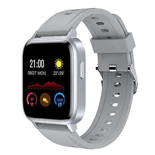 Wsaman Reloj Iinteligente Hombre Mujer Niños, Smartwatch Reloj Deportivo con Podómetro y Despertador, Fitness Tracker Monitor de Sueño IP67 Impermeable con Pantalla Táctil para Android/iOS,Gris