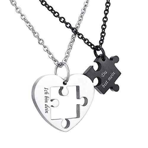 MJARTORIA Damen Halskette Silber Farbe Sperren Schlüssel Partnerketten Freundschftsketten mit Gravur Ring Kreis Ketten für 2 (Herz Dein/Mein)
