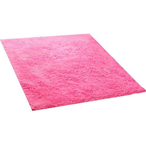 GHGMM Teppich Fußmatten, Einfach modern rutschfest Schallschutz Teppich, Passend für Wohnzimmer Kaffetisch Sofa Schlafzimmer, waschbar,pink,100 * 120cm