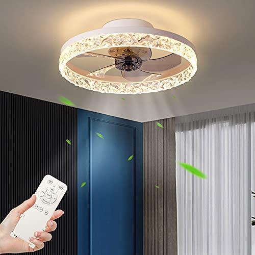 30W Ventilador de Techo con iluminación, Regulable Lámpara de Techo con Control Remoto,3 temperatura de color & 4 velocidad del viento Moderna Luz de Techo para Comedor, Dormitorio (Ø50cm Blanco)