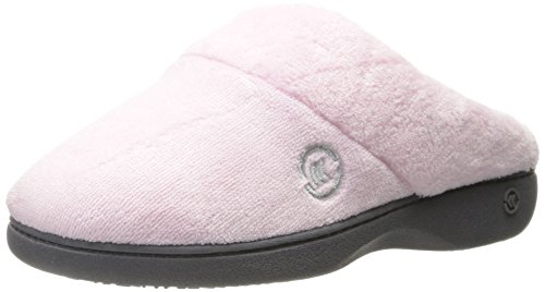 isotoner Women's Terry Slip In Clog, Memory Foam, Comfort and Arch Support, Indoor/Outdoor, Peony, 6.5-7 US