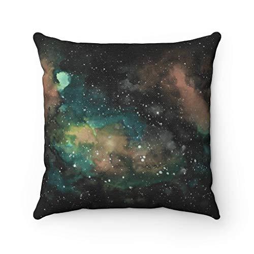 Promini Celestial Throw Pillow Cover, Black Teal Beige, Cosmic Stars, Square Decorative, Contemporary Farmhouse Decor Case Cushion Pillowcase for Sofa Home Decor 24 x 24 Inches