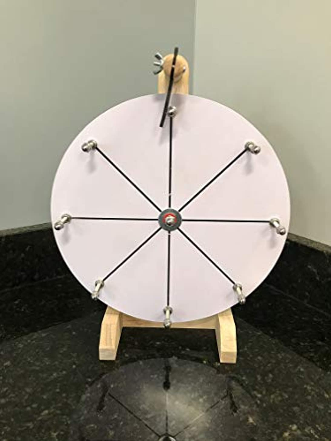 Kids Mini 12 Inch Prize Wheel Game with 8 Segment Dry Erase Wood Design for Fortune Raffle Spin Game