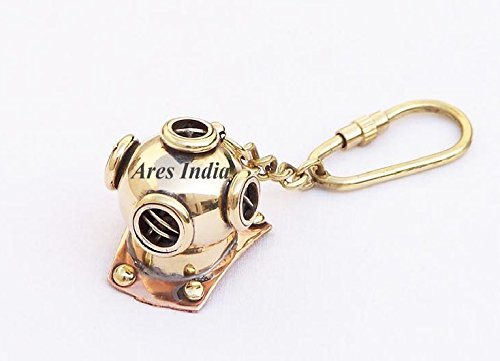 Ares India Brass Diving Divers Helmet Keychain Nautical Maritime Yatching Keyring Gift by Ares India