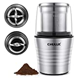 CHULUX Electric Spices and Coffee Grinder with 2.5 Ounce Two Detachable Cups for Wet/Dry...