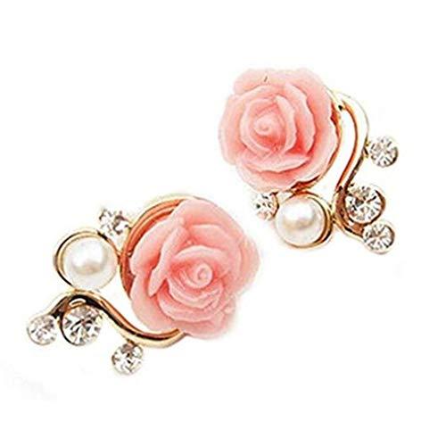 1 Par Pendientes Moda Las Mujeres Elegantes Flor Rosa
