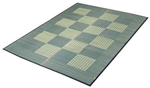 イケヒコ 日本製 い草 ラグ カーペット 3畳 長方形 Fライト 約191×250cm ブルー 国産 ふっくら すべりにくい 裏貼り ヒバ加工 #8212430