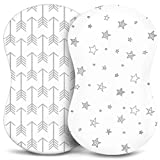 Bassinet Sheets, Fitted Premium Jersey Cotton, Bedside Sleeper Cover, Universal Sheets, White 2 Pack