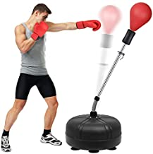 Mdikawe Punching Bag with Stand for Adults & Kids, Adjustable Height Freestanding Speed Bag, Ideal for MMA Reflex Speed Training, Fitness,Punching and Muscle Building